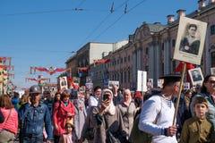 9 mai 2019, la Russie, St Petersburg R?giment immortel d'action nationale sur Nevsky Prospekt P?tersbourg Vacances de ville images stock