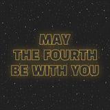 Mai le quatrième soit avec vous La science fiction jaunissent les lettres rougeoyantes de néon sur le fond de l'espace illustration de vecteur