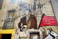 21 MAI 2014 - ORGOSOLO : Peintures de mur Image stock