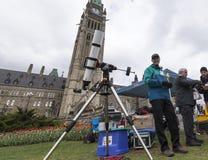 10 mai 2016 - Ottawa, Ontario - Canada - transit de Mercury du soleil Photographie stock libre de droits