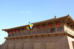 Am 11. Mai 2014 ruiniert Xi'an-Geruchpalast Park in China, gibt es eine Rhabarberentenform auf dem Himmel des Drachens Lizenzfreie Stockbilder