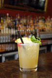 Mai Tai. Punch with mint, cherry and pineapple decoration and black straw stock photo