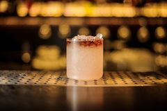 Mai Tai cocktail standing on the bar counter royalty free stock photo
