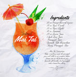 Mai Tai cocktails watercolor. Mai Tai cocktails drawn watercolor blots and stains with a spray, including recipes and ingredients on the background of crumpled Stock Photos