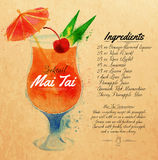 Mai Tai cocktails watercolor kraft. Mai Tai cocktails drawn watercolor blots and stains with a spray, including recipes and ingredients on the background of Royalty Free Stock Images