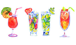 Mai Tai, Strawberry Mojito, Lime Mojito and Sex on the Beach. Hand Painted Watercolor Illustration  Set of Cocktails: Mai Tai, Strawberry Mojito, Lime Mojito and Stock Photos