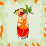 Mai Tai tropical classic cocktail illustration. Alcoholic bar drink hand drawn vector. Pop art royalty free illustration