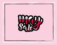 Mai-Verkaufsfliegerschablone mit handgeschriebener Beschriftung Plakat, Karte, Aufkleber, Fahnendesign Heller und stilvoller skiz stock abbildung