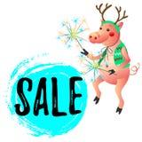Maiale ballante con la vendita del nuovo anno delle stelle filante fotografia stock