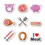 Maiale, carne suina - prosciutto ed icone delle etichette del bacon messe Immagini Stock