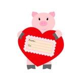 Maiale che tiene un cuore su un fondo bianco Fotografia Stock Libera da Diritti