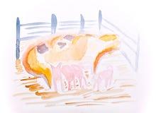 Maiale con colore di acqua dei porcellini da Kay Gale Fotografie Stock Libere da Diritti