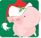 Maiale con la protezione del Babbo Natale Fotografie Stock Libere da Diritti