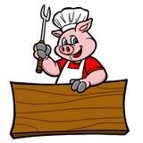 Maiale del BBQ con il segno Immagine Stock