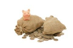 Maiale del giocattolo con i sacchetti di soldi Fotografie Stock Libere da Diritti