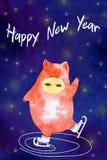 Maiale del nuovo anno dell'acquerello illustrazione vettoriale