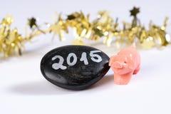Maiale di buona fortuna, nuovo anno 2015 Fotografia Stock