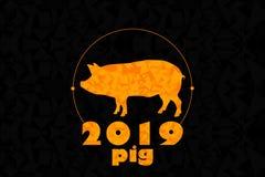 Maiale di logo su un fondo nero da ora al 2019 fotografia stock