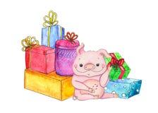 Maiale di Natale con i presente e la caramella royalty illustrazione gratis