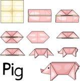 Maiale di origami Fotografie Stock