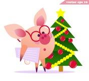 Maiale divertente con i vetri e l'albero di Natale royalty illustrazione gratis