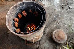 Maiale indigeno della griglia della Tailandia Fotografia Stock Libera da Diritti