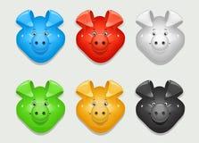 Maiale Insieme di colore differente dell'icona Fotografia Stock