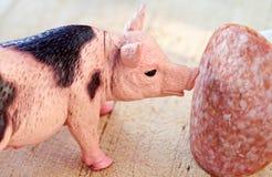 Maiale miniatura con una fetta di saussage fotografia stock libera da diritti