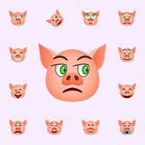 Maiale nell'icona neutrale di emoji Insieme universale delle icone di emoji del maiale per il web ed il cellulare illustrazione di stock