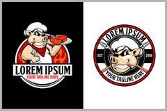 Maiale o carne di maiale con i piatti della carne per il modello di logo di vettore di esagono dei ristoranti con barbecue royalty illustrazione gratis