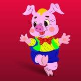 Maiale rosa ballante allegro del carattere, su un fondo rosso illustrazione di stock