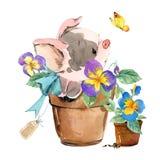 Maiale sveglio illustrazione dell'animale dell'acquerello del fumetto illustrazione di stock