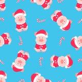 Maiale sveglio in un vestito e un cappello di Santa Claus con un fiocchetto lanuginoso Modello senza cuciture della caramella di  royalty illustrazione gratis