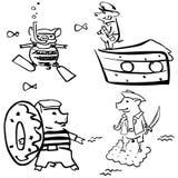 Maiali antropomorfici di vettore del fumetto nell'insieme del mare illustrazione vettoriale