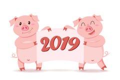 Maiali che tengono insegna con la congratulazione Simbolo del nuovo anno cinese 2019 Immagini Stock Libere da Diritti