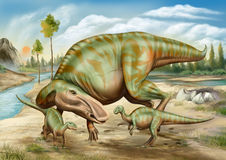 Maiasaura and her children Royalty Free Stock Images
