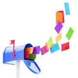 Maibox and flock of coloured letters flying into Stock Photography
