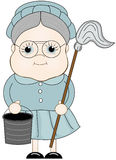 Maid. Holding a mop and a cleaning bucket Stock Photography