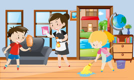 Maid And Kids Cleaning The Room