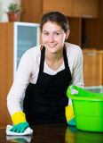 Maid in apron dusting and wiping Royalty Free Stock Images