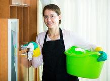 Maid in apron dusting and wiping Stock Images