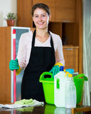 Maid in apron dusting and wiping Royalty Free Stock Photos
