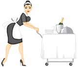 Maid brings lunch Royalty Free Stock Photography