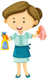 Maid with cleaner spray and cloth Stock Photos