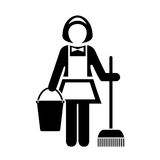 Maid cleaner vector icon Royalty Free Stock Photos