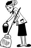 Maid. Is cleaning the floor Royalty Free Stock Image