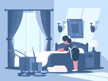 Maid cleaning in hotel room. Service staff character woman. Vector illustration Royalty Free Stock Images