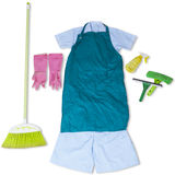 Maid clothes and cleaner tools Royalty Free Stock Image