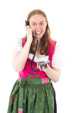 Maid dialling her friend Royalty Free Stock Images