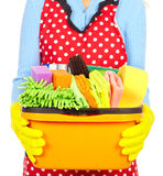 Maid hands with cleaning tools. Stock Images